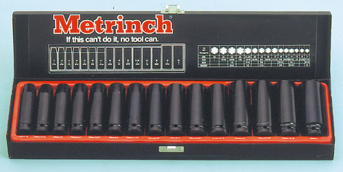 15 Piece Deep Wall Impact Socket Set